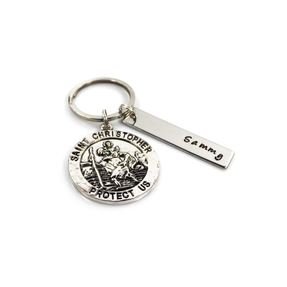 St Christopher Keyring with Personalised Name Tag Free